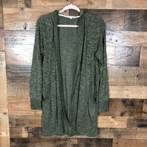 Charmed hearts long green hooded sweater